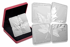 Issued by the Royal Canadian Mint for the very first time, this fine silver maple leaf puzzle set comprises four square coins. Edition Limit: 7,500. Struck in .9999 Silver to a reverse proof finish.